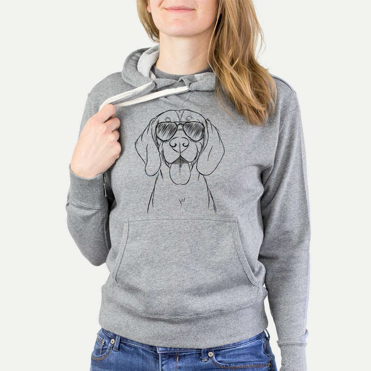Bogie the Beagle - Grey French Terry Hooded Sweatshirt