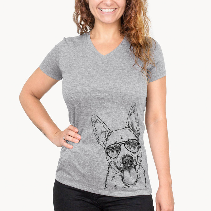Charlie the Mixed Breed - Women's Modern Fit V-neck Shirt