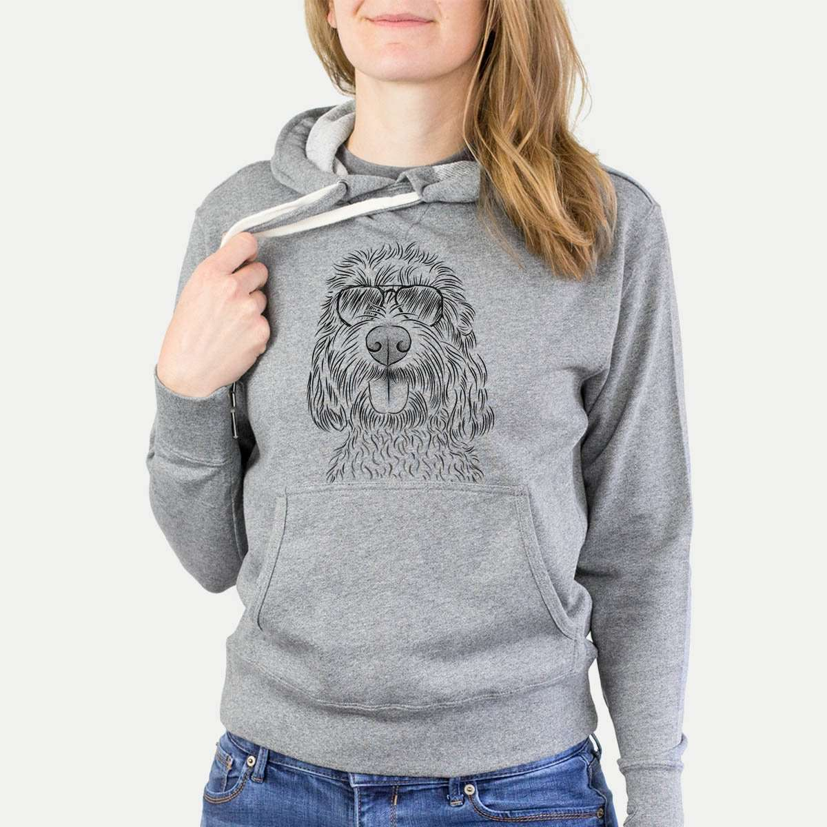 Clover the Cockapoo - Grey French Terry Hooded Sweatshirt