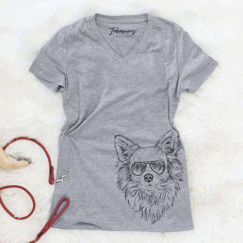 Emma the Longhaired Chihuahua - Women's Modern Fit V-neck Shirt