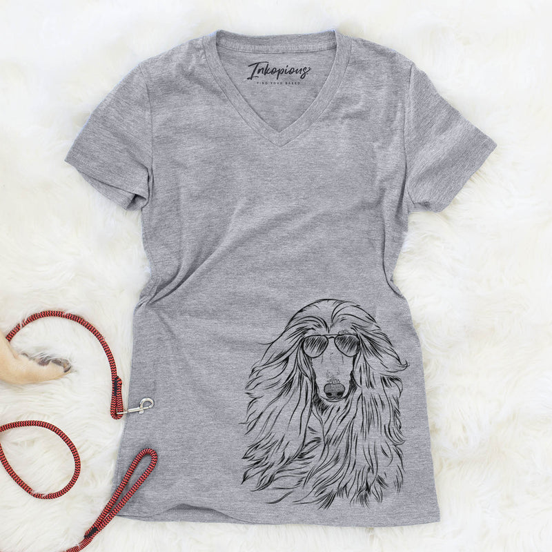 Fabio the Afghan Hound - Women's Modern Fit V-neck Shirt