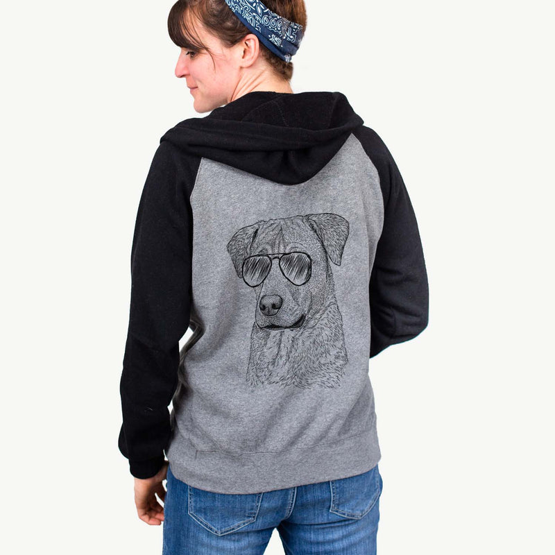 Feta the Mixed Breed - Unisex Raglan Zip Up Hoodie