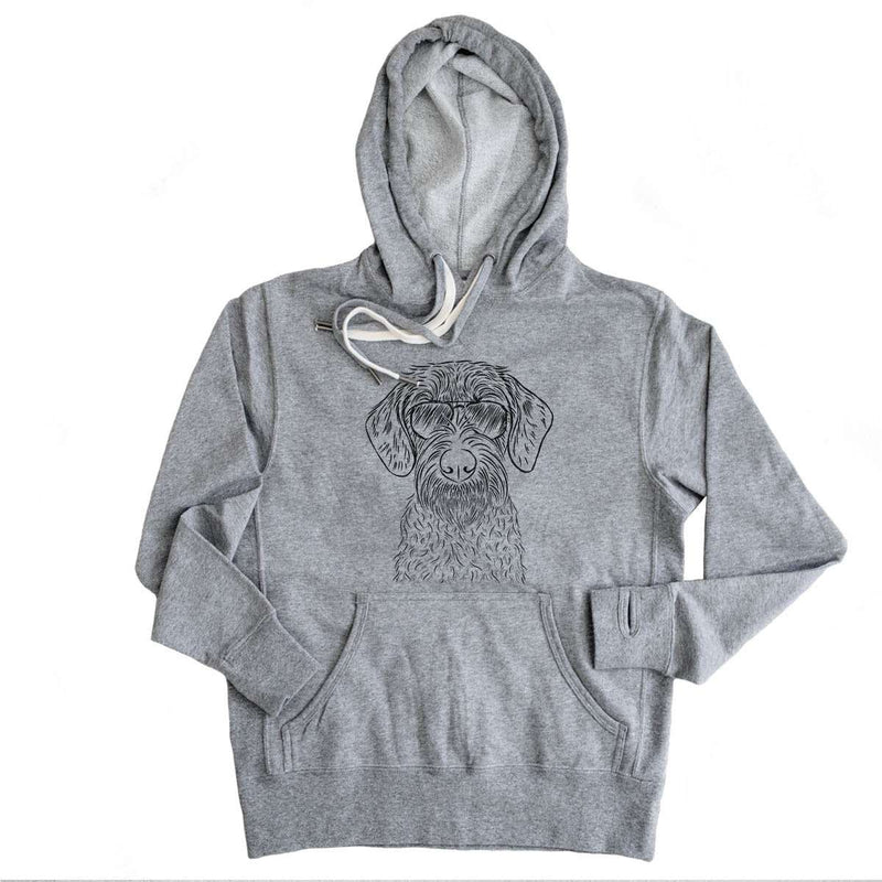 Gus the German Wirehaired Pointer - Grey French Terry Hooded Sweatshirt