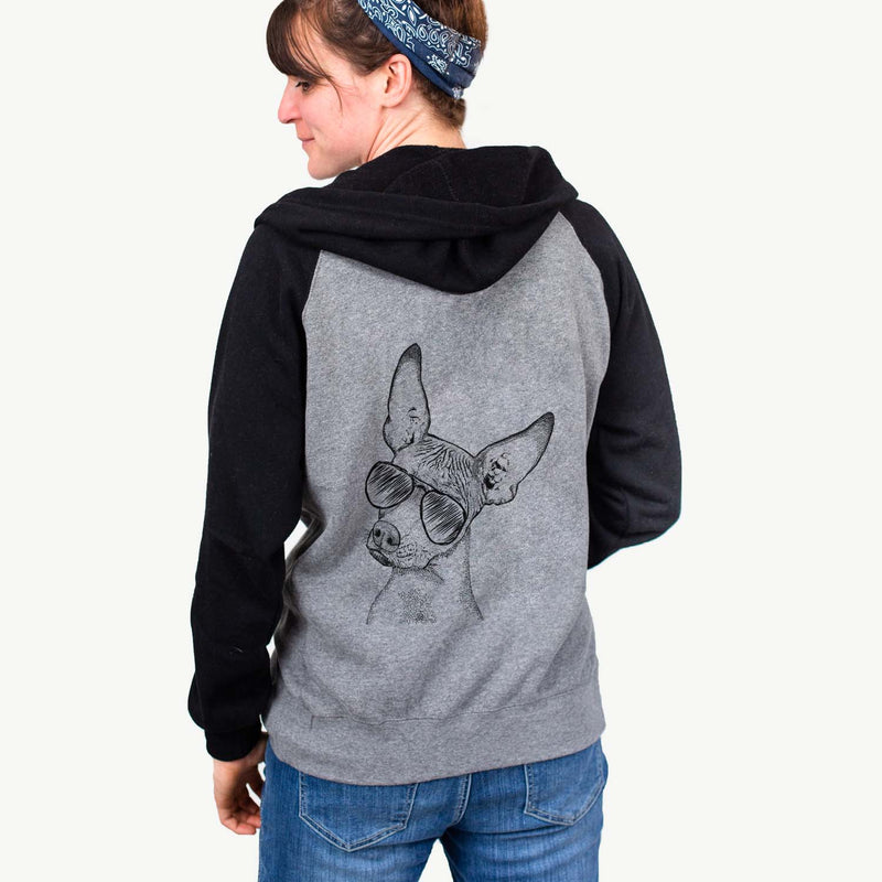 Kahlo the Xoloitzcuintli - Unisex Raglan Zip Up Hoodie