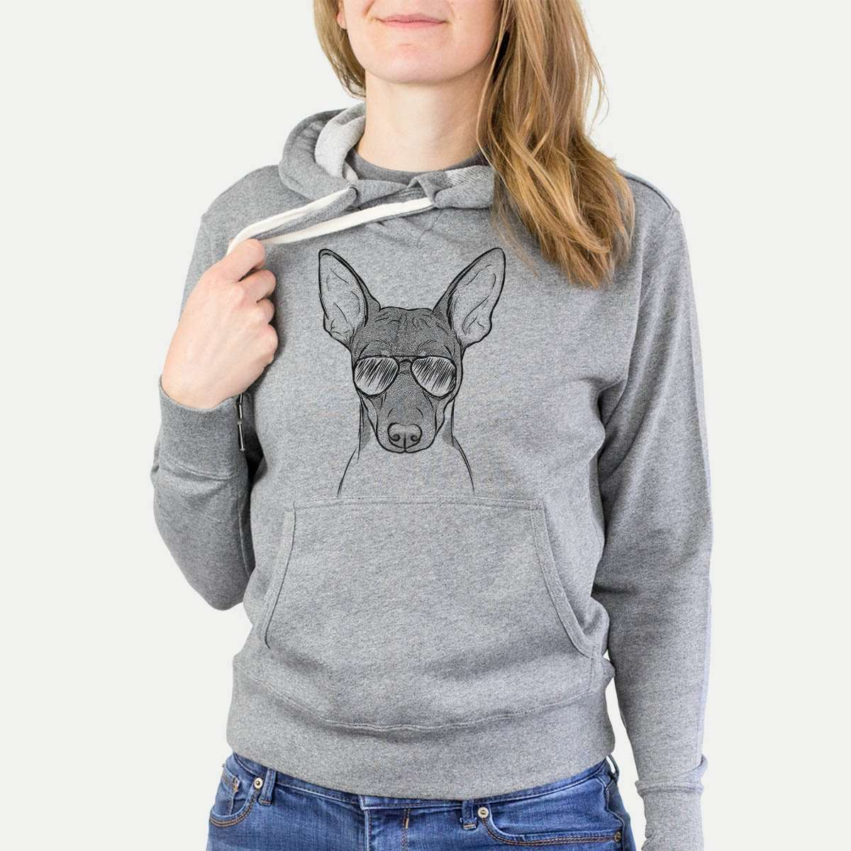 Knox the Rat Terrier - Grey French Terry Hooded Sweatshirt