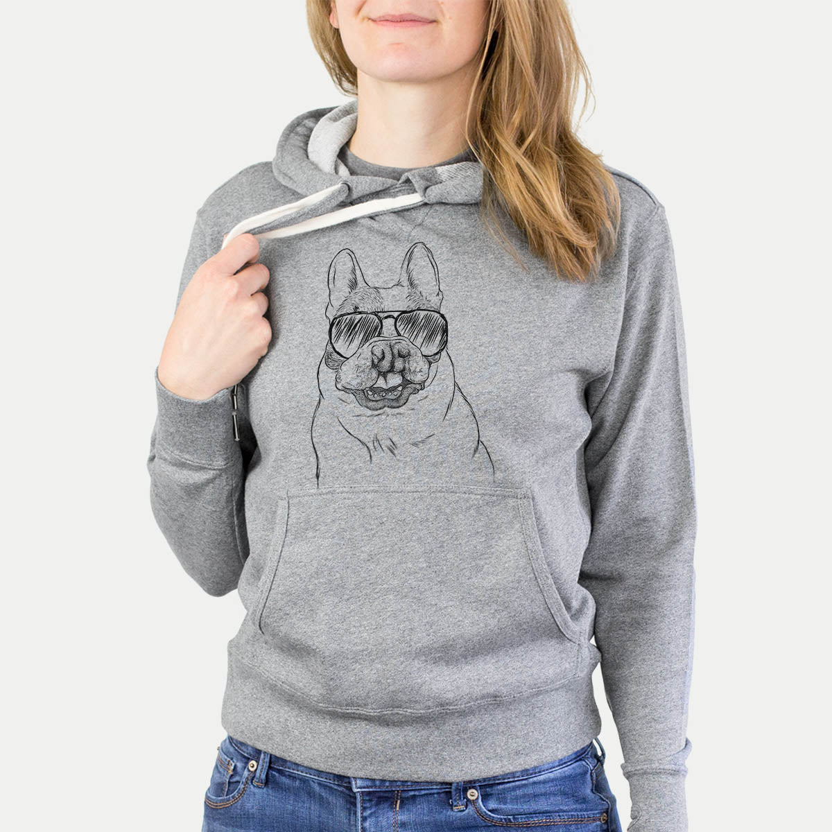 Lentil the French Bulldog - French Terry Hooded Sweatshirt
