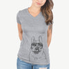 Lentil the French Bulldog - Women's Modern Fit V-neck Shirt