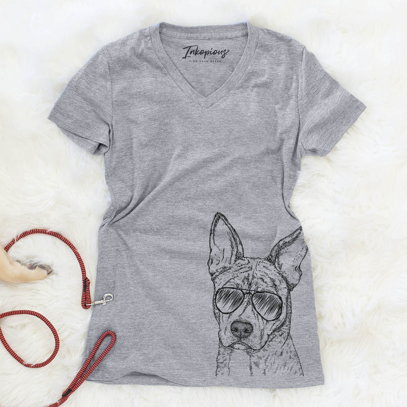Leo the Ibizan Hound/Bull Mastiff Mix - Women's Modern Fit V-neck Shirt