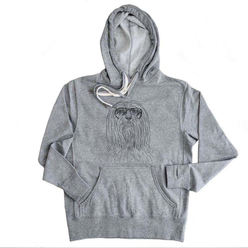 Lorenzo the Lhasa Apso - Grey French Terry Hooded Sweatshirt