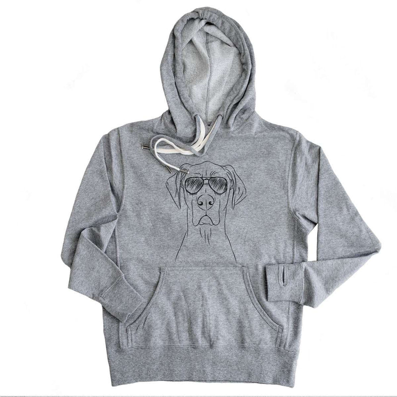 Maddox the Great Dane - Grey French Terry Hooded Sweatshirt
