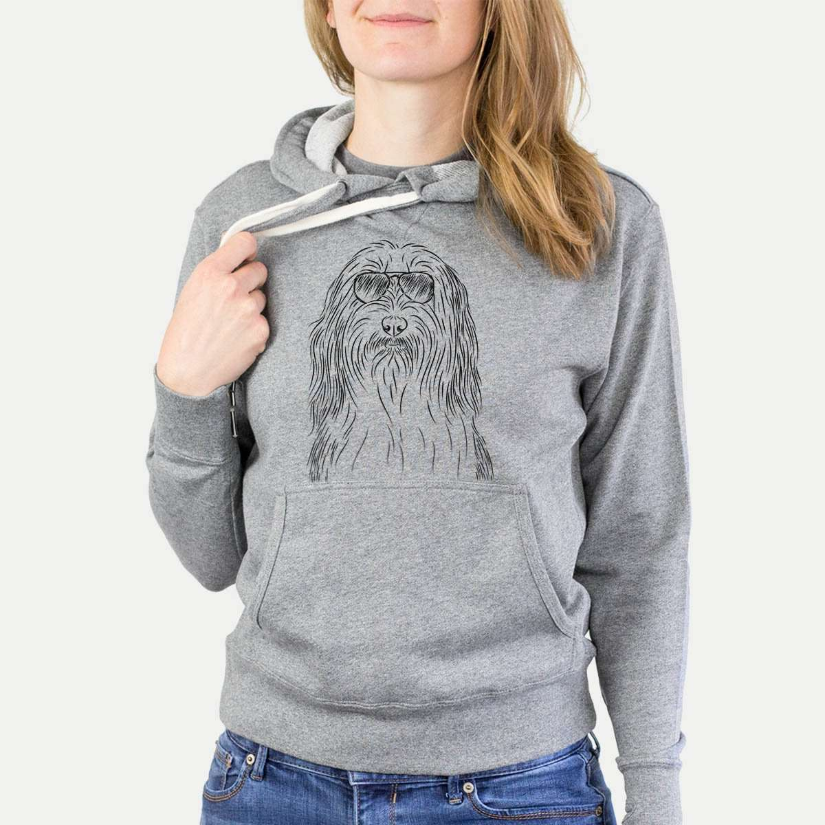 Murray the Bearded Collie - Grey French Terry Hooded Sweatshirt