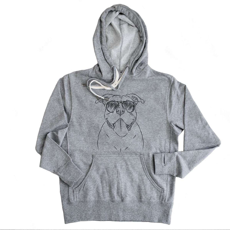Nacho the American Bully - Grey French Terry Hooded Sweatshirt