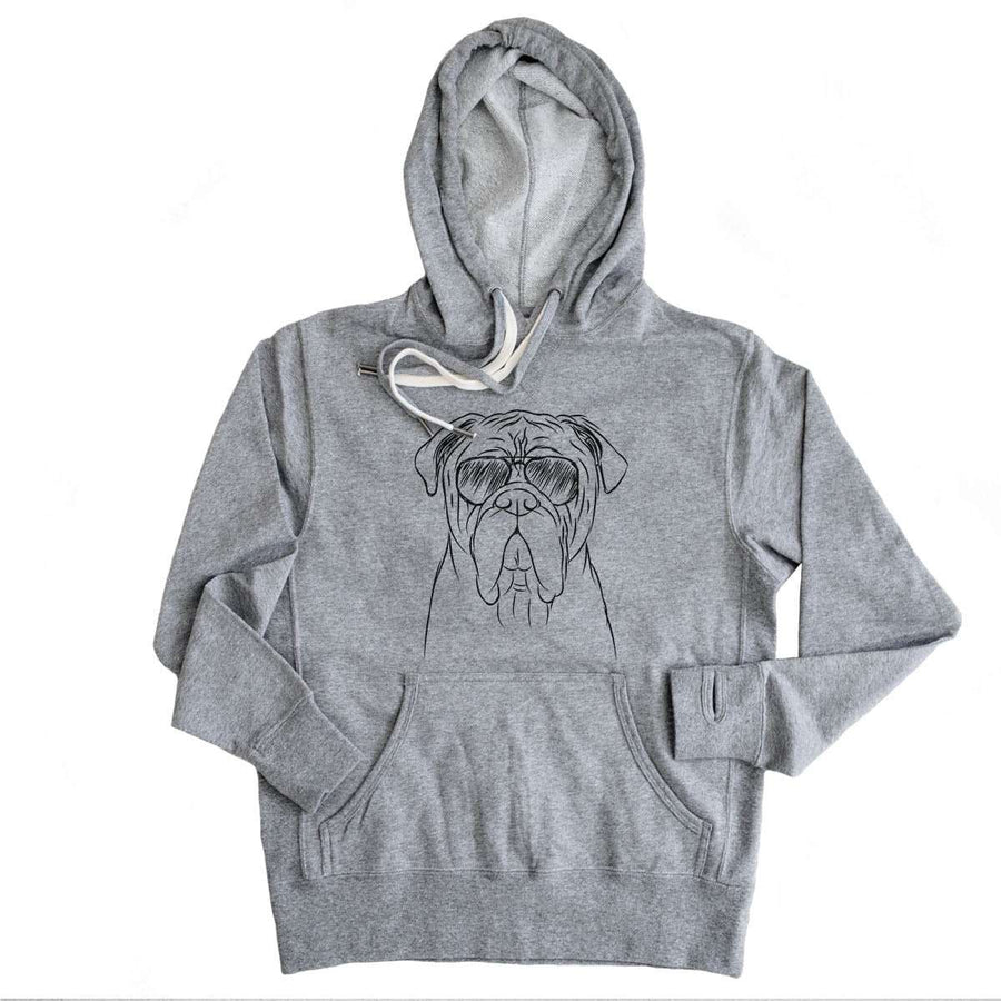 Nolan the Bull Mastiff - Grey French Terry Hooded Sweatshirt