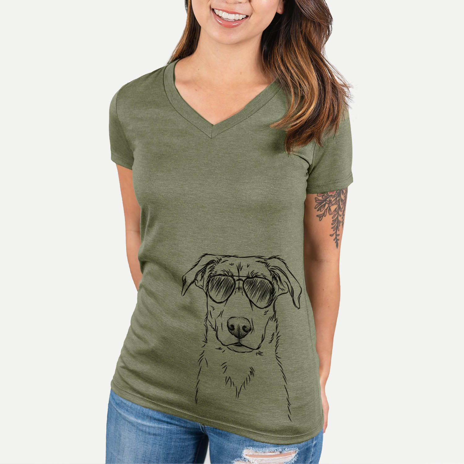 Peanut the Lab Mix - Women's Modern Fit V-neck Shirt