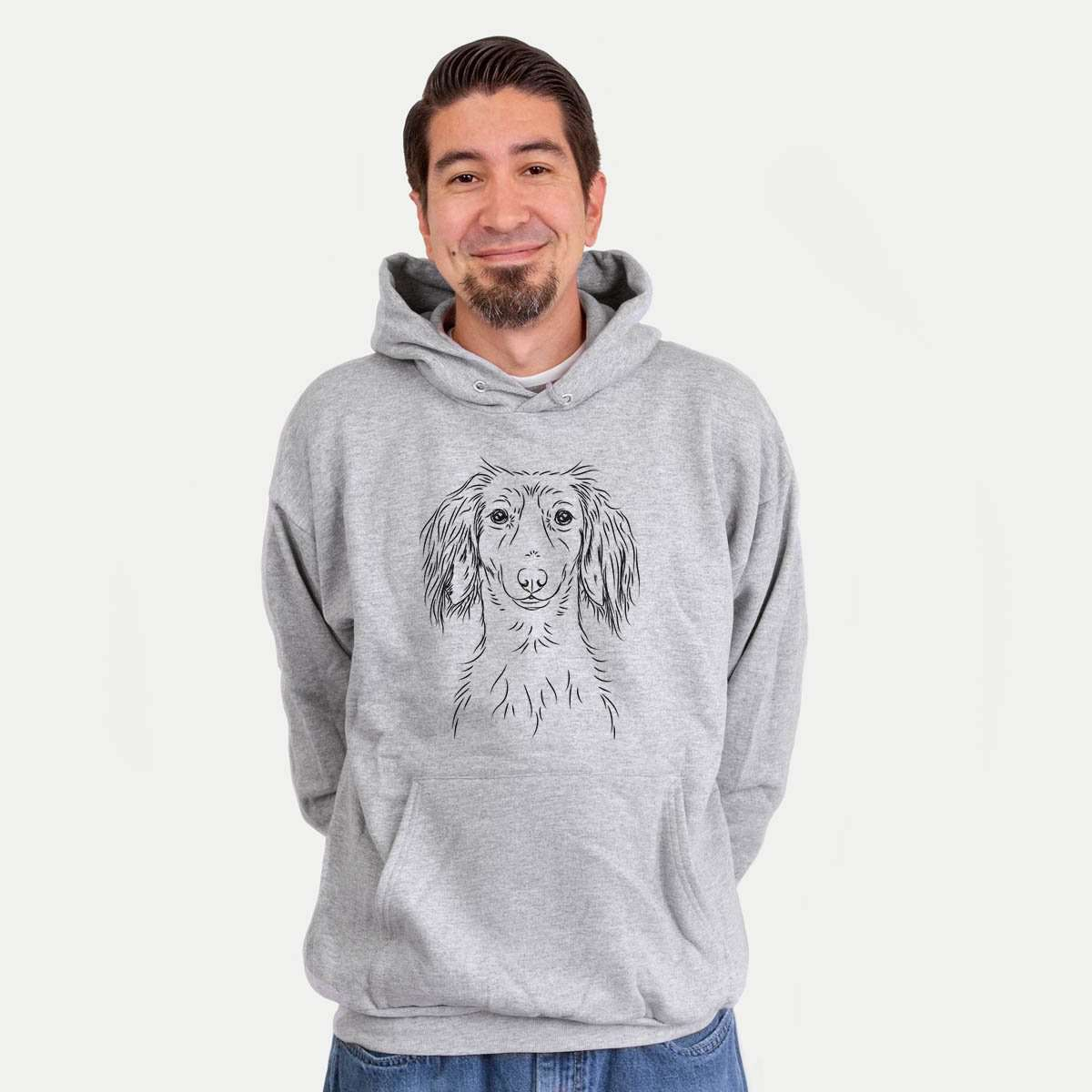 Roux the Long Haired Dachshund - Mens Hooded Sweatshirt