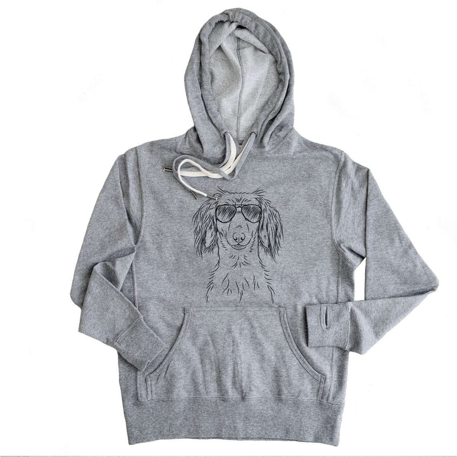 Roux the Long Haired Dachshund - Grey French Terry Hooded Sweatshirt