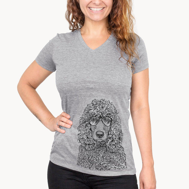 Shilo the Irish Water Spaniel - Women's Modern Fit V-neck Shirt
