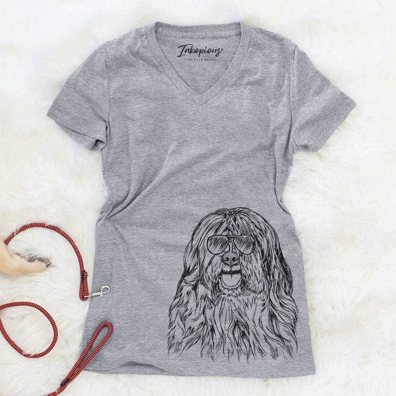 Trinket the Tibetan Terrier - Women's Modern Fit V-neck Shirt