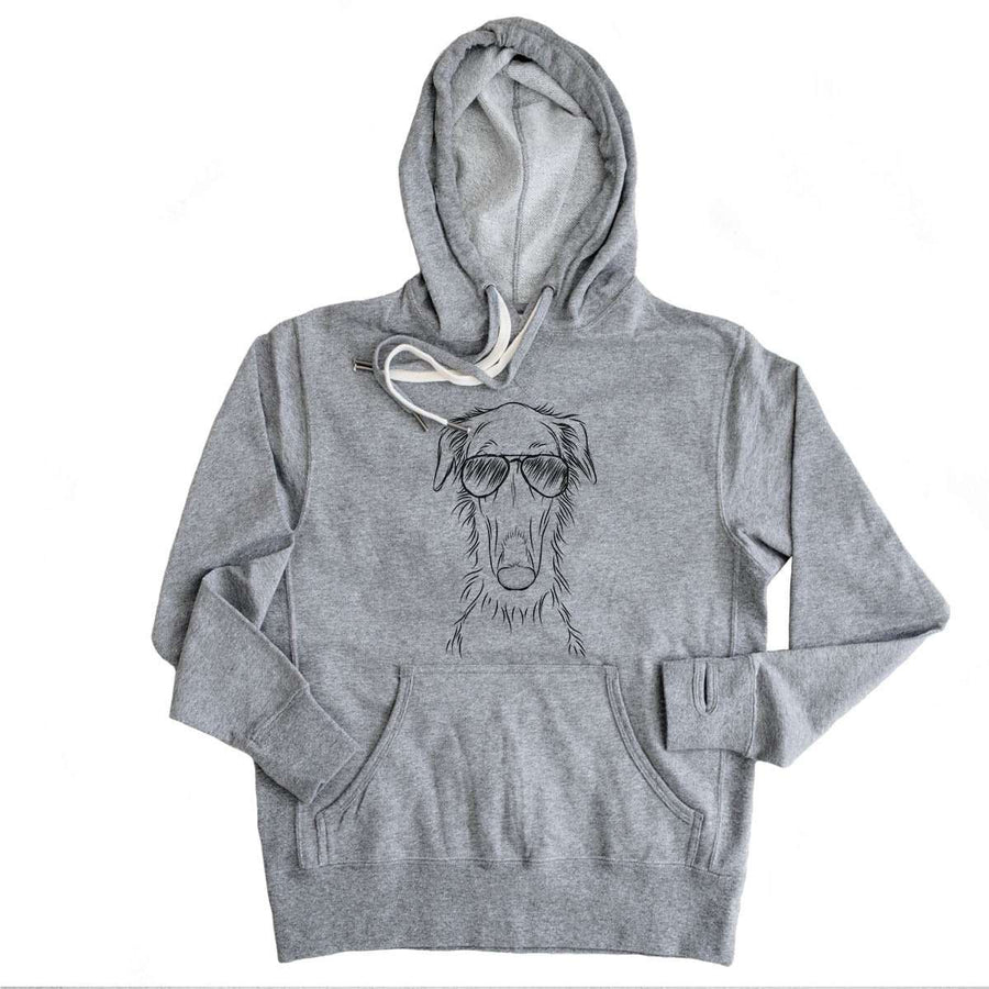 Vaughn the Borzoi - Grey French Terry Hooded Sweatshirt