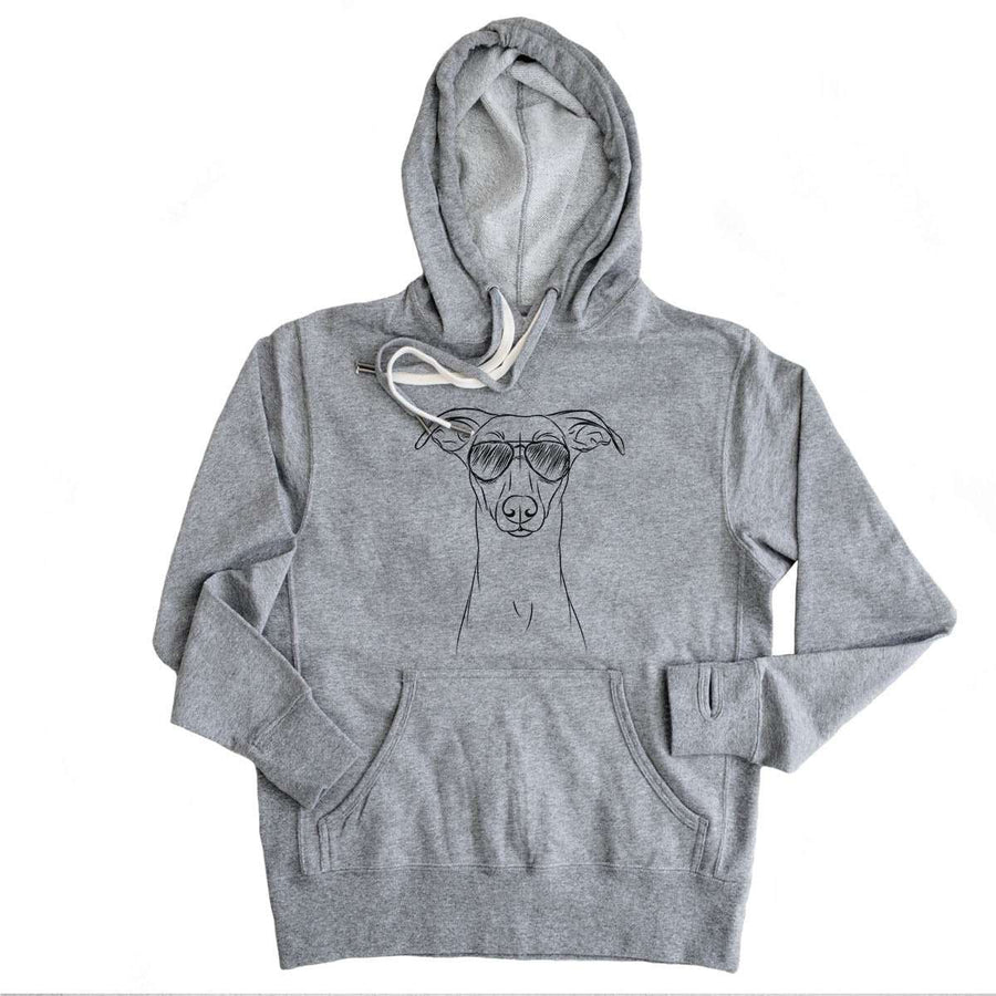 Wallace the Whippet - Grey French Terry Hooded Sweatshirt