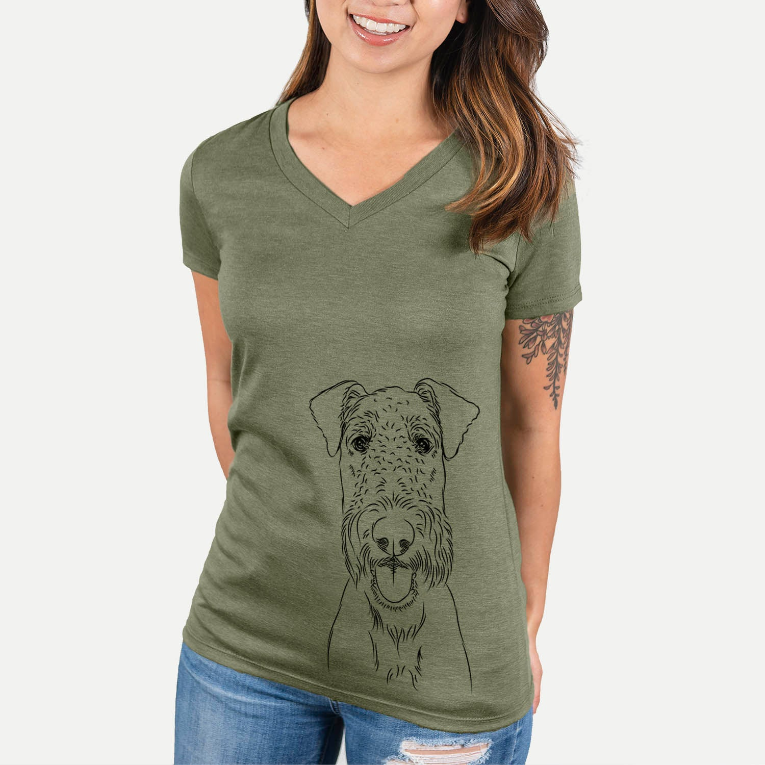 Andy the Airedale Terrier - Women's Modern Fit V-neck Shirt