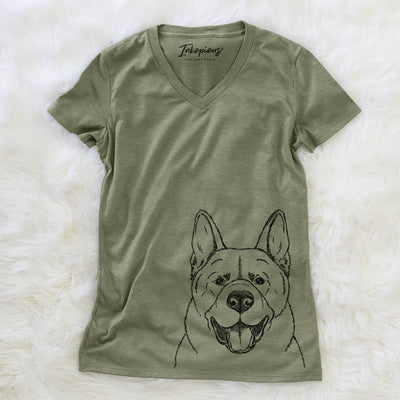 Baku the Akita - Women's Modern Fit V-neck Shirt