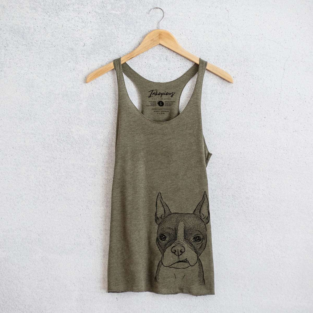 Bean the Boston Terrier - Tri-Blend Racerback Tank Top