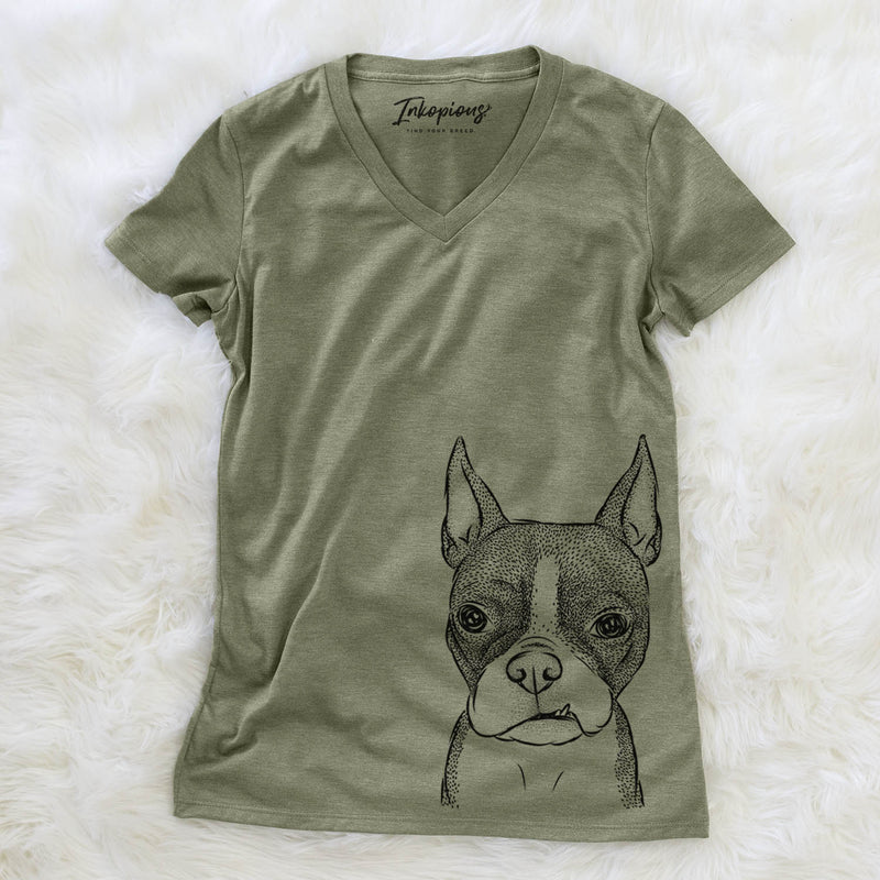 Bean the Boston Terrier - Women's Modern Fit V-neck Shirt