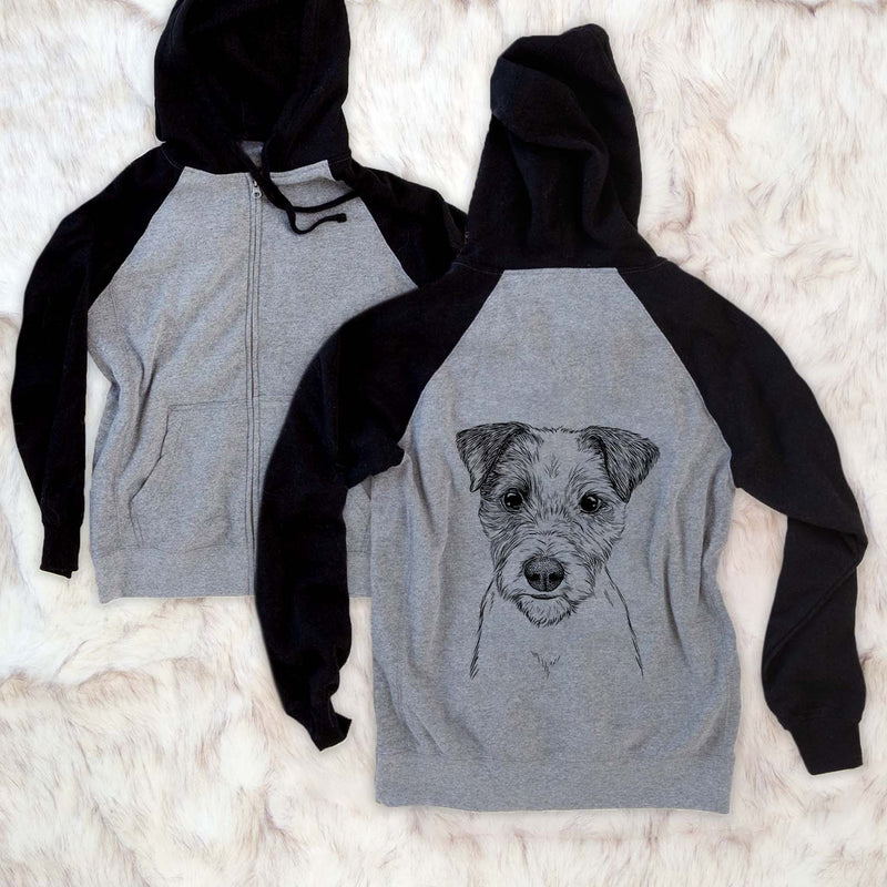 Bogart the Parsons Russell Terrier - Unisex Raglan Zip Up Hoodie