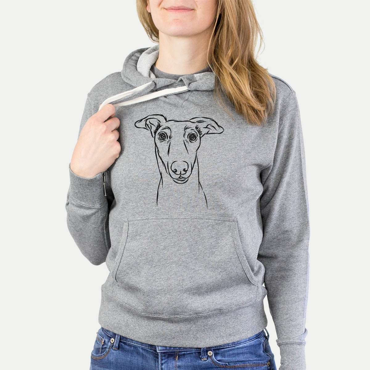 Diva the Greyhound - Grey French Terry Hooded Sweatshirt