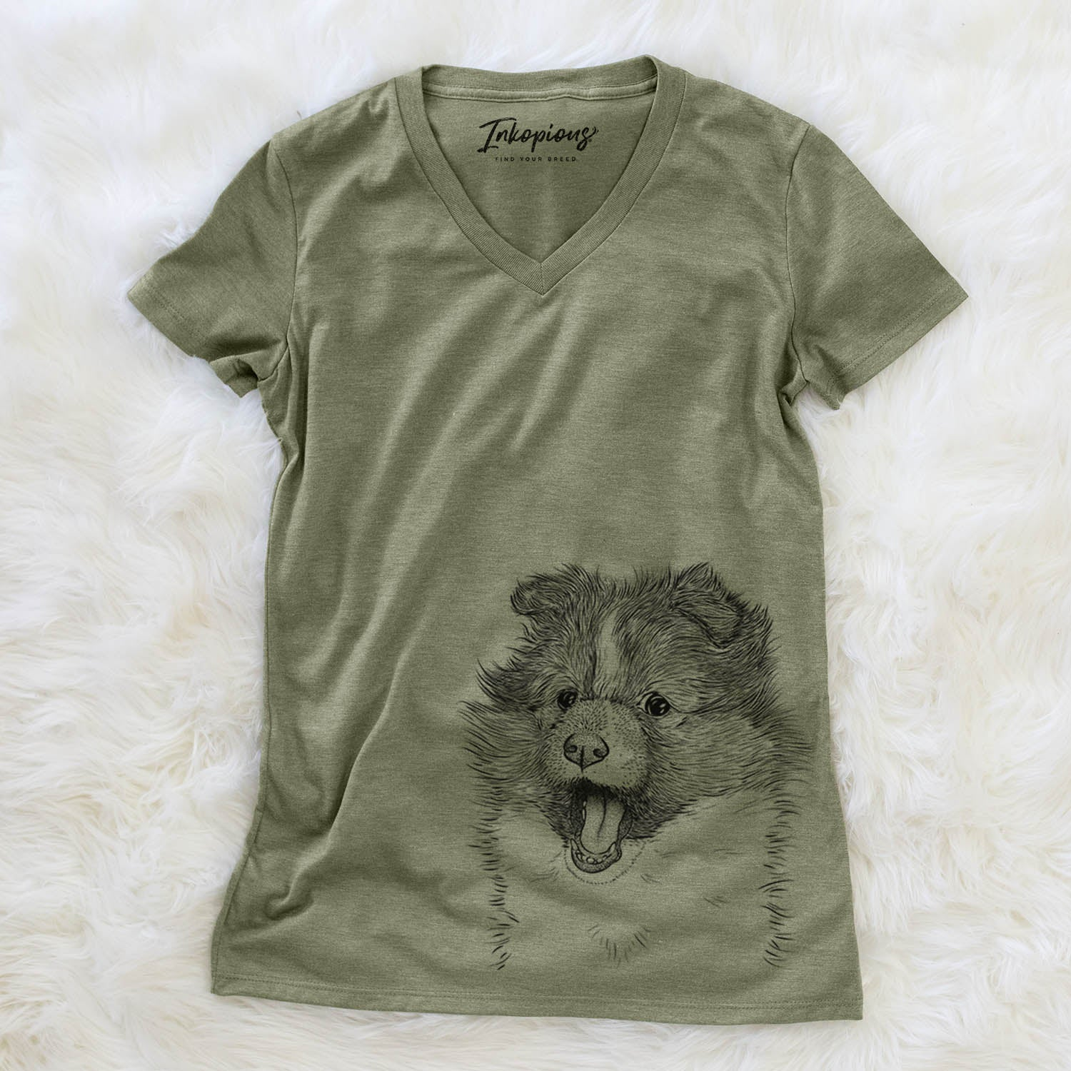 Dylan the Shetland Sheepdog - Women's Modern Fit V-neck Shirt