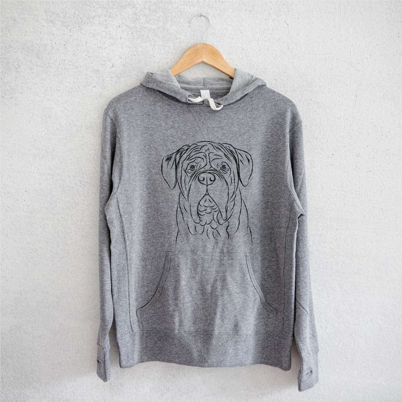Felix the Dogue de Bordeaux  - Grey French Terry Hooded Sweatshirt