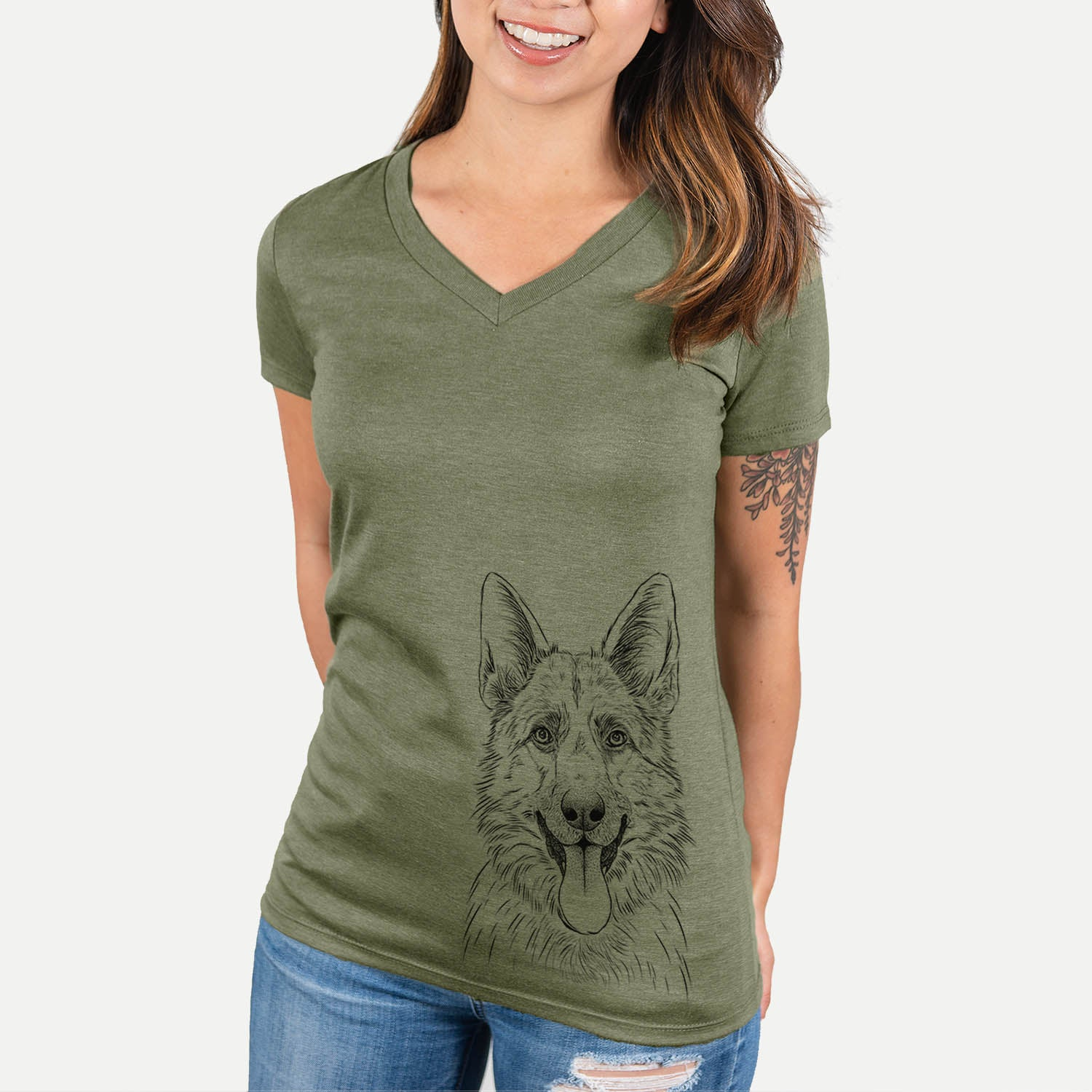 Grace the German Shepherd - Women's Modern Fit V-neck Shirt