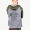 Happy Otis the Miniature Goldendoodle - Unisex Raglan Zip Up Hoodie