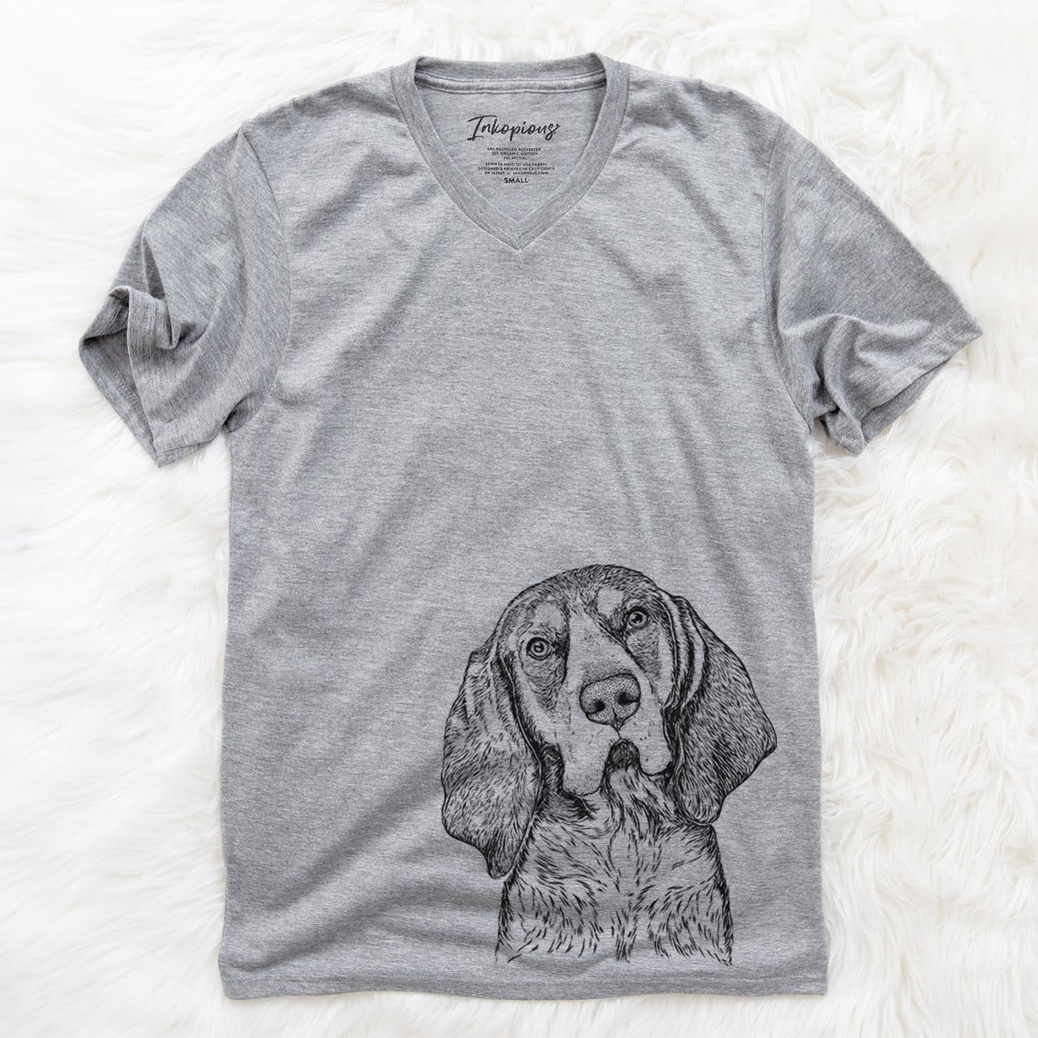 Huck the Bluetick Coonhound - Unisex V-Neck Shirt