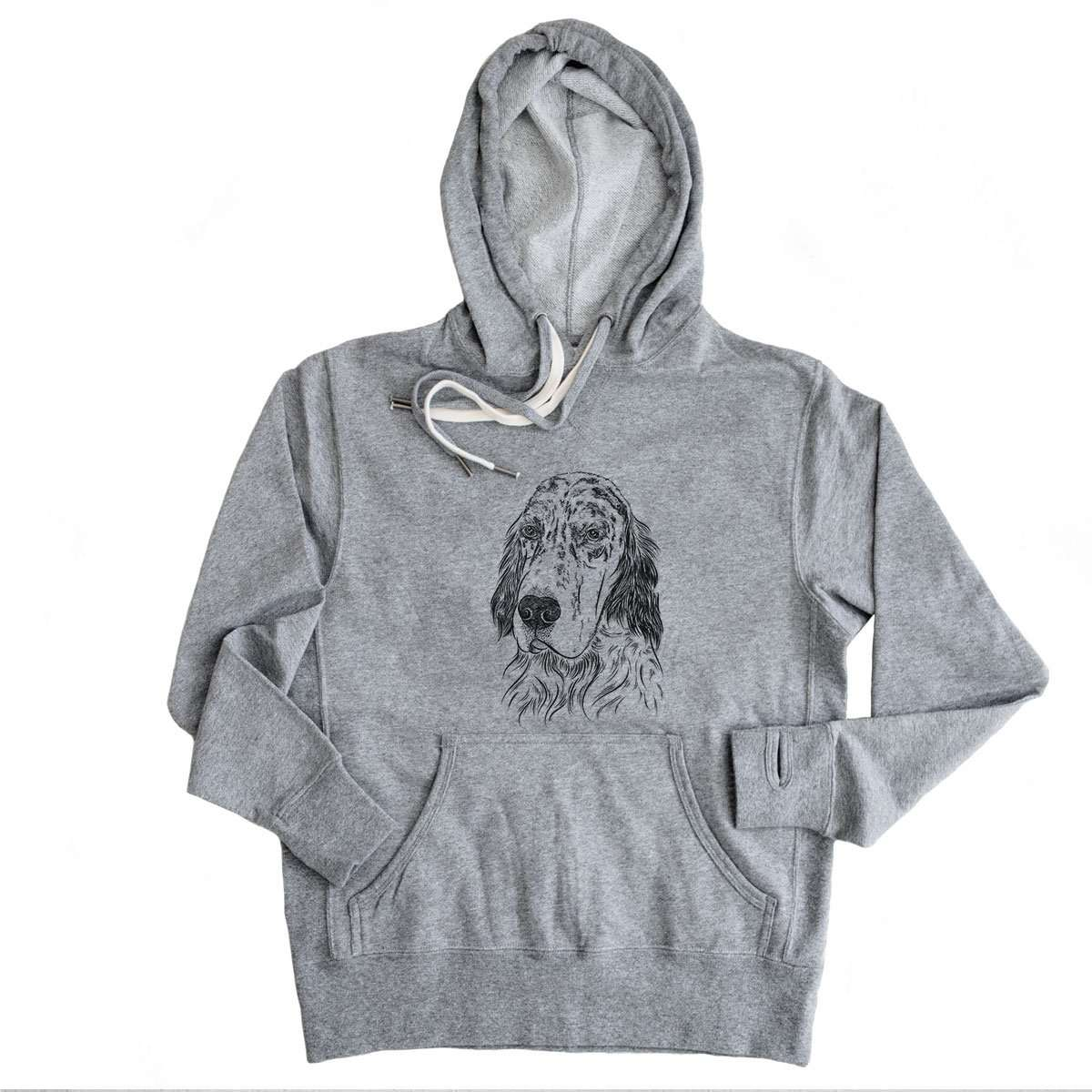 Hutch the English Setter - Grey French Terry Hooded Sweatshirt