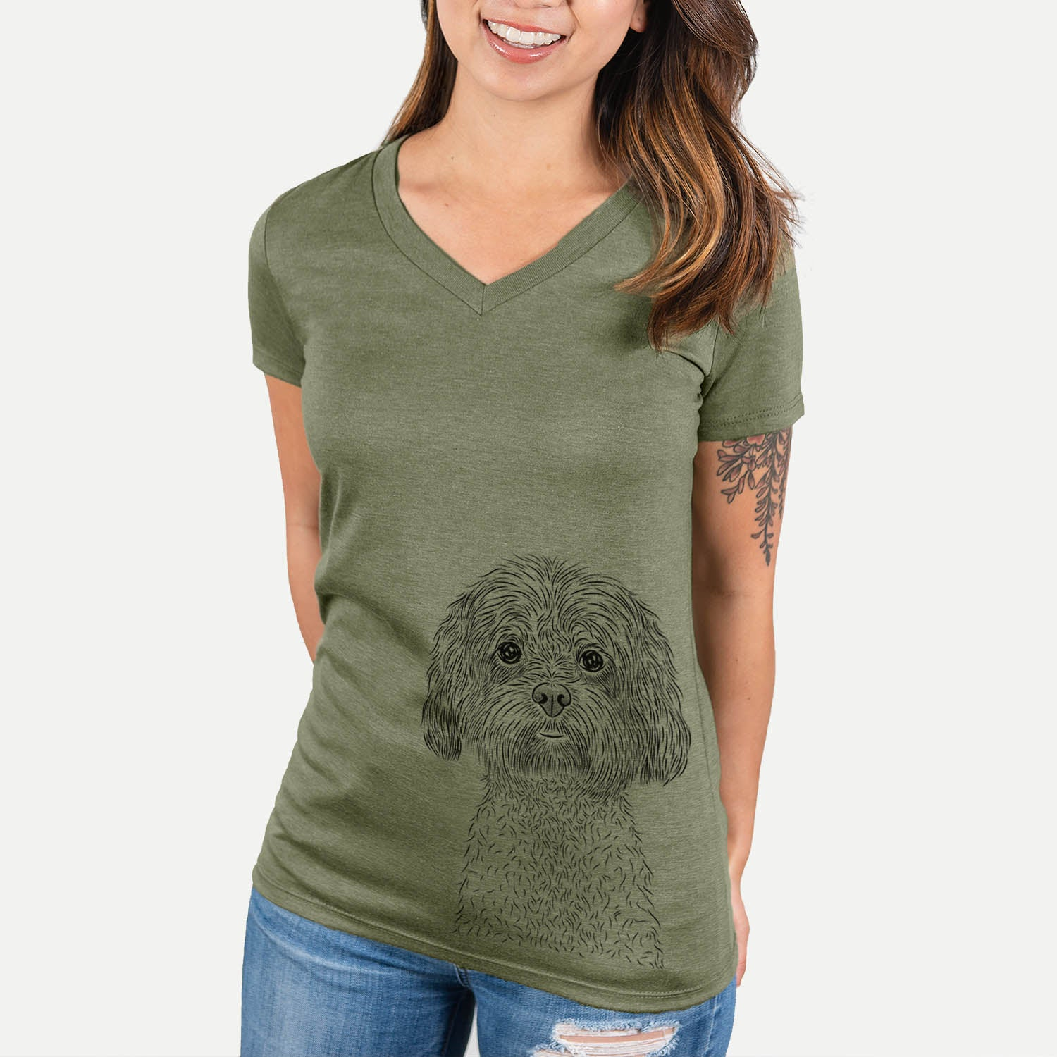 Lane the Lhasa Apso - Women's Modern Fit V-neck Shirt