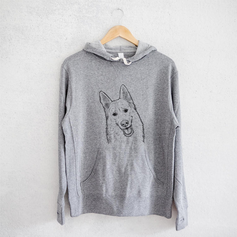 Loki the Husky Shepherd Mix - French Terry Hooded Sweatshirt