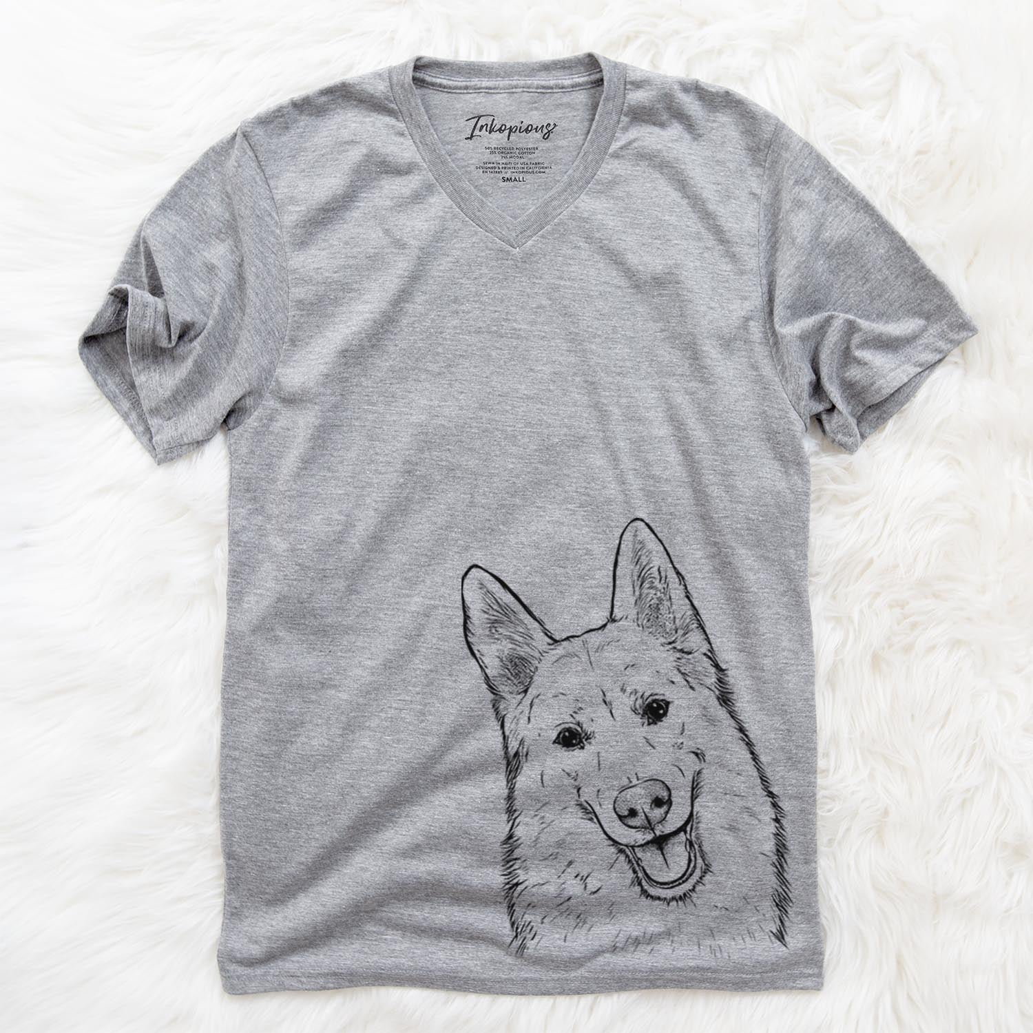 Loki the Husky Shepherd Mix - Unisex V-Neck Shirt