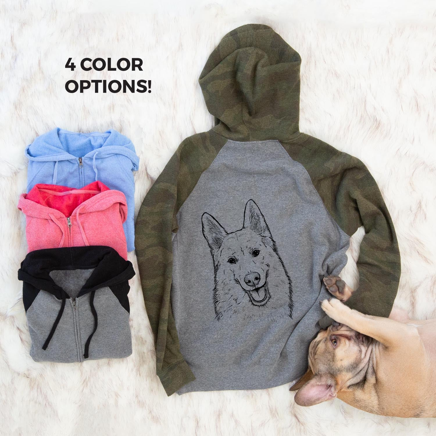 Loki the Husky Shepherd Mix - Unisex Raglan Zip Up Hoodie