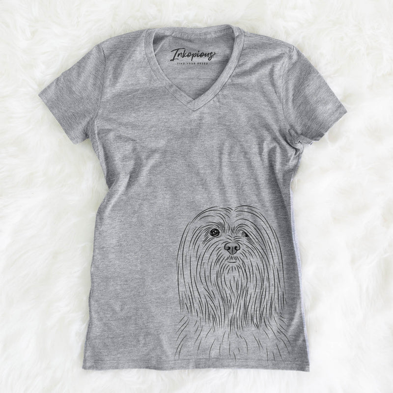 Lorenzo the Lhasa Apso - Women's Modern Fit V-neck Shirt