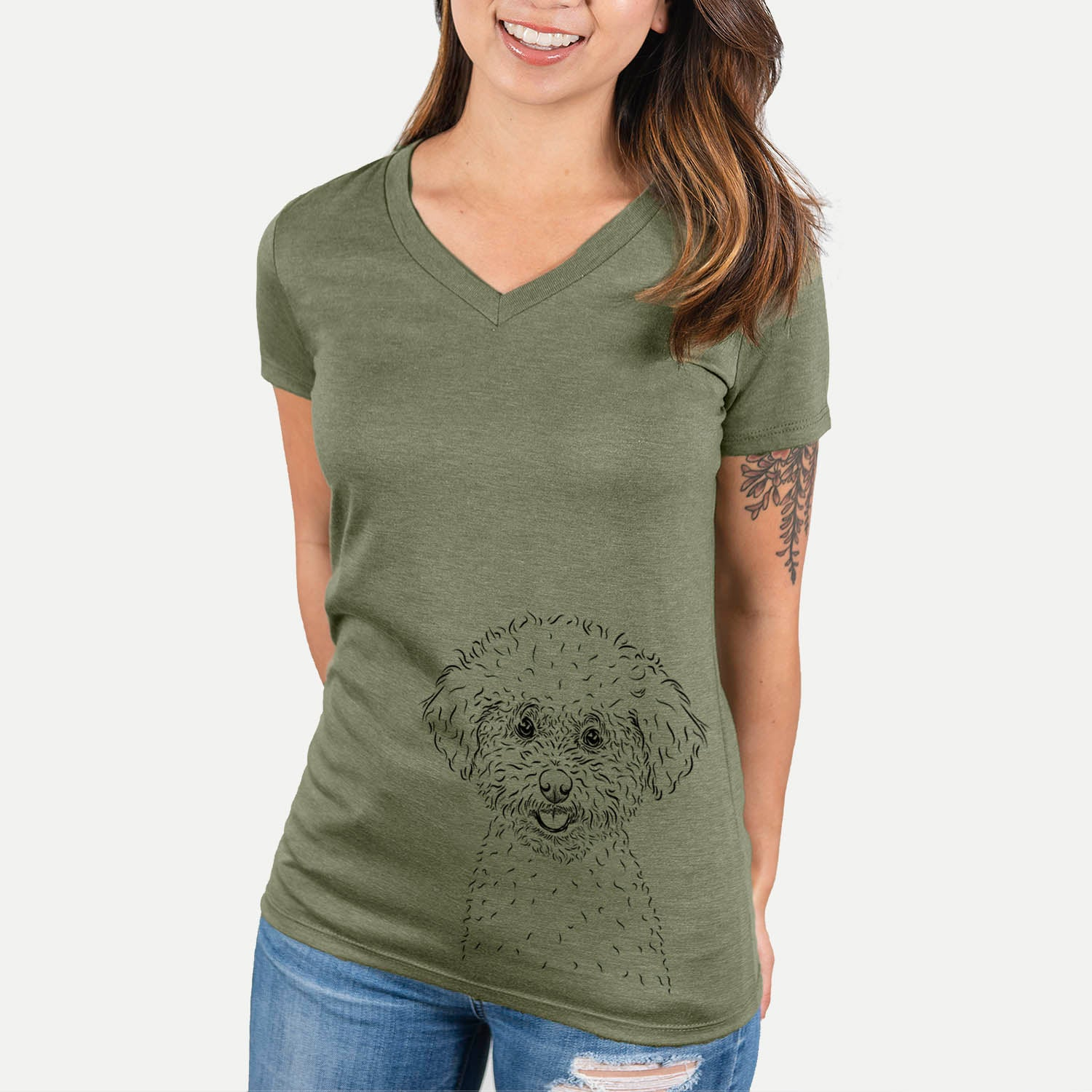 Mickey the Bichon Frise - Women's Modern Fit V-neck Shirt