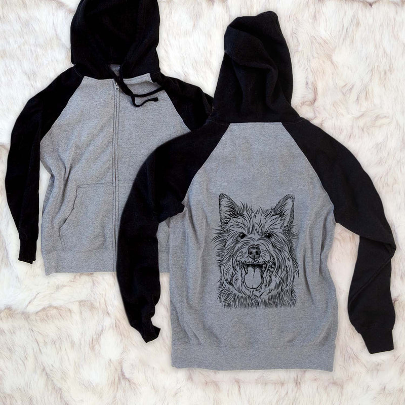 Middy the Australian Terrier - Unisex Raglan Zip Up Hoodie