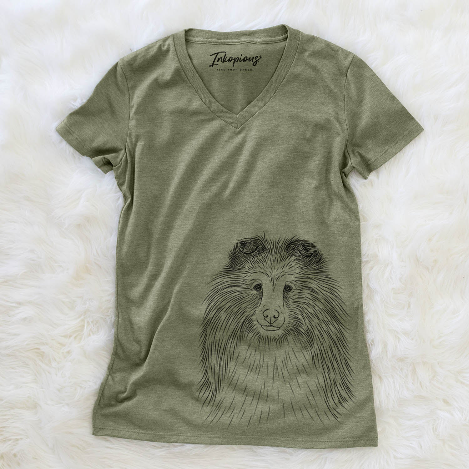 Moxie the Shetland Sheepdog - Women's Modern Fit V-neck Shirt