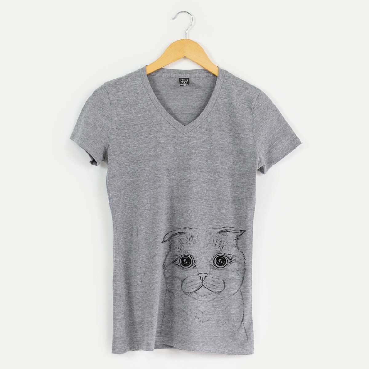 Neko the Scottish Fold Cat - Women's Modern Fit V-neck Shirt