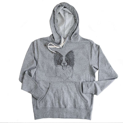 Patrick the Papillon - Grey French Terry Hooded Sweatshirt