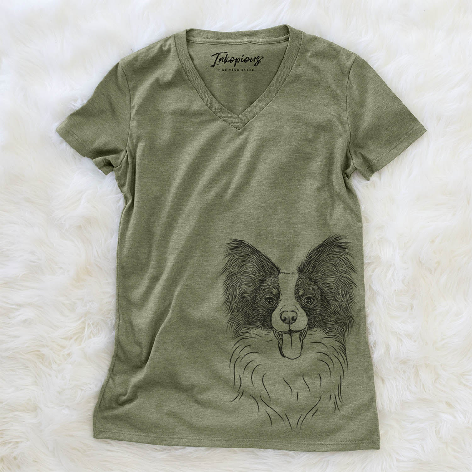 Patrick the Papillon - Women's Modern Fit V-neck Shirt