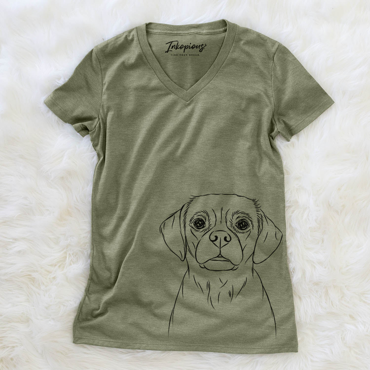 Popcorn the Puggle - Women's Modern Fit V-neck Shirt