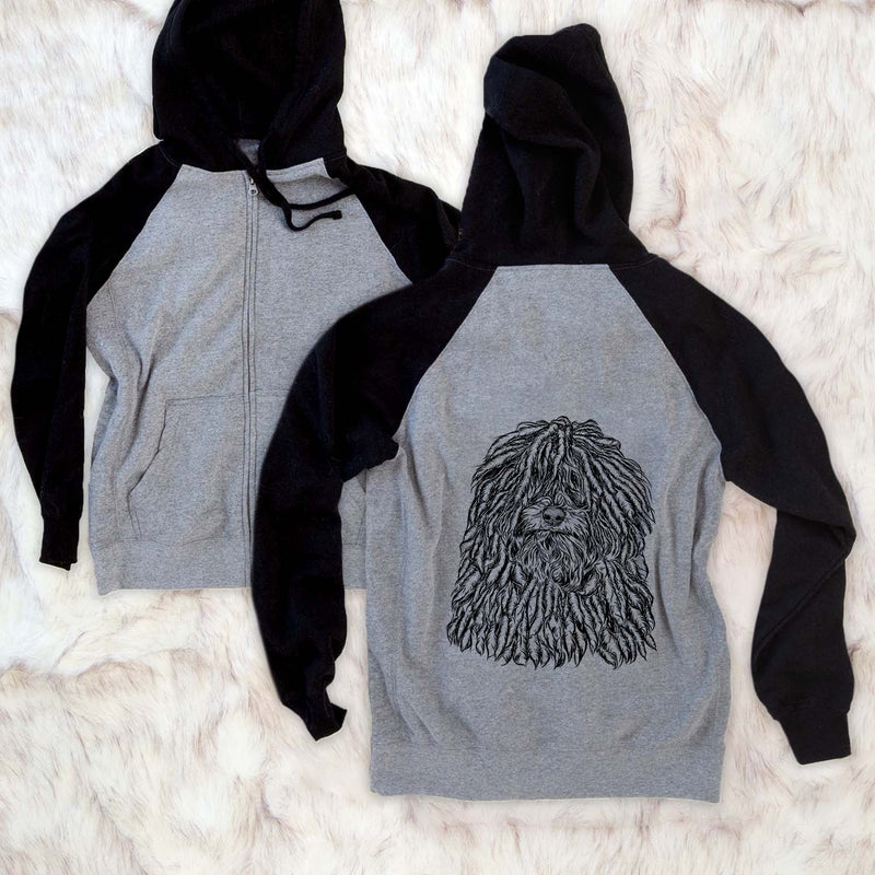 Rezi the Puli - Unisex Raglan Zip Up Hoodie