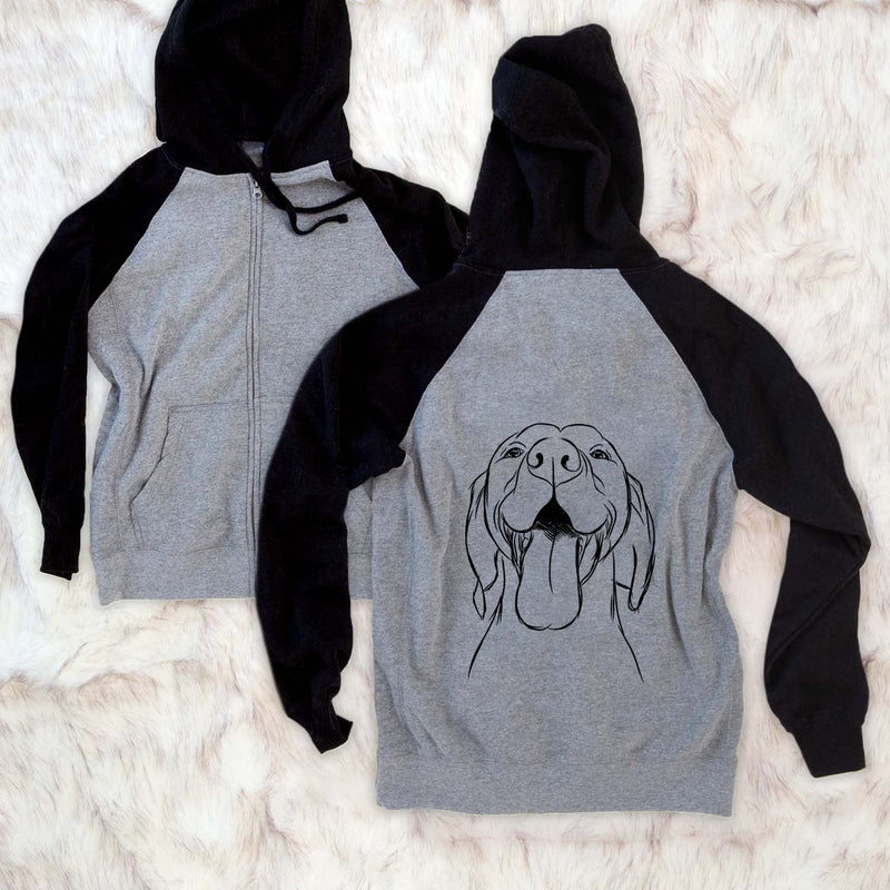 Rhys the Vizsla - Unisex Raglan Zip Up Hoodie